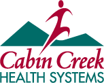 Cabin Creek Health Systems Logo with a human figure and green mountains