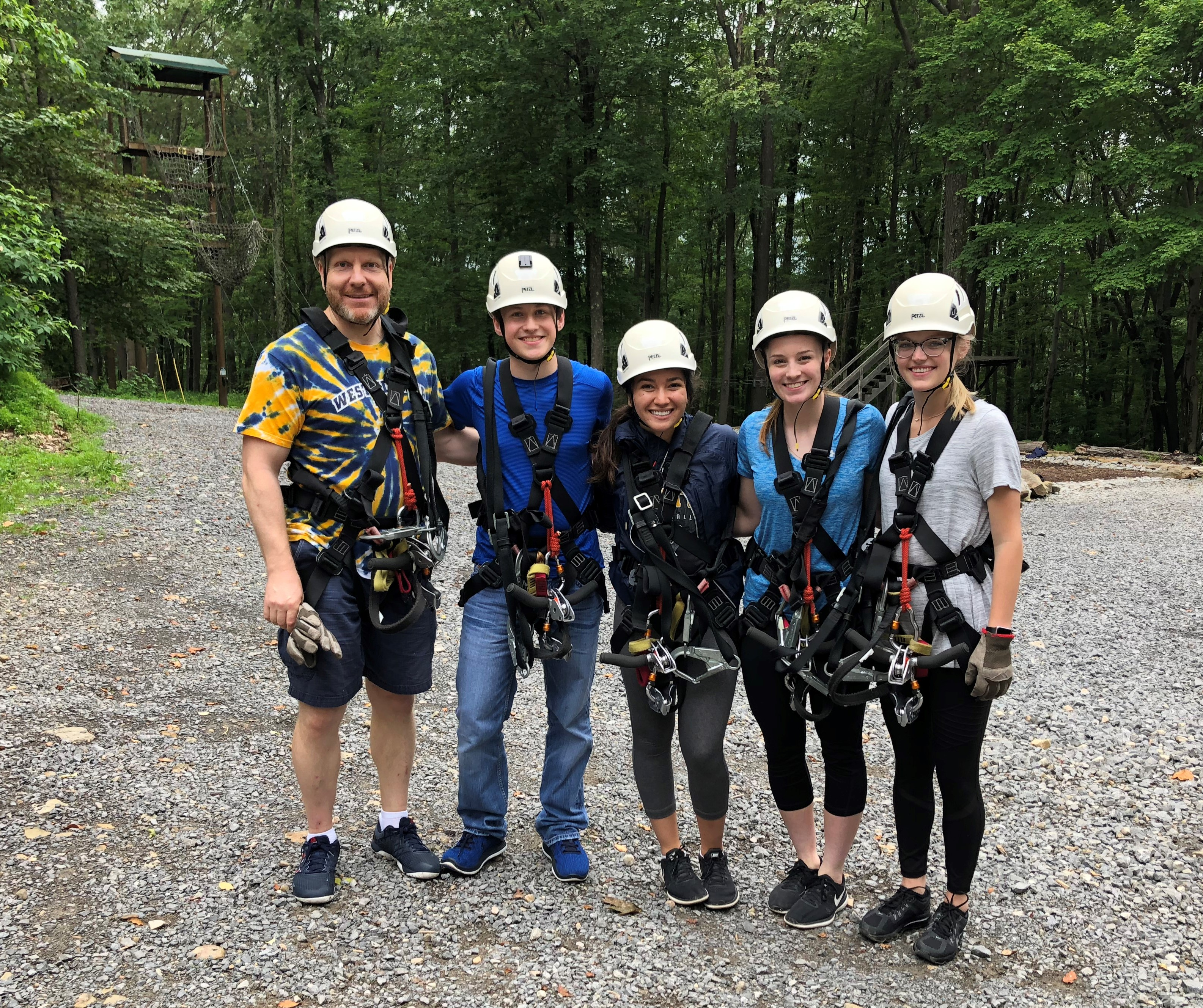 Dr. Alexey Ivanov with students at zip line tour