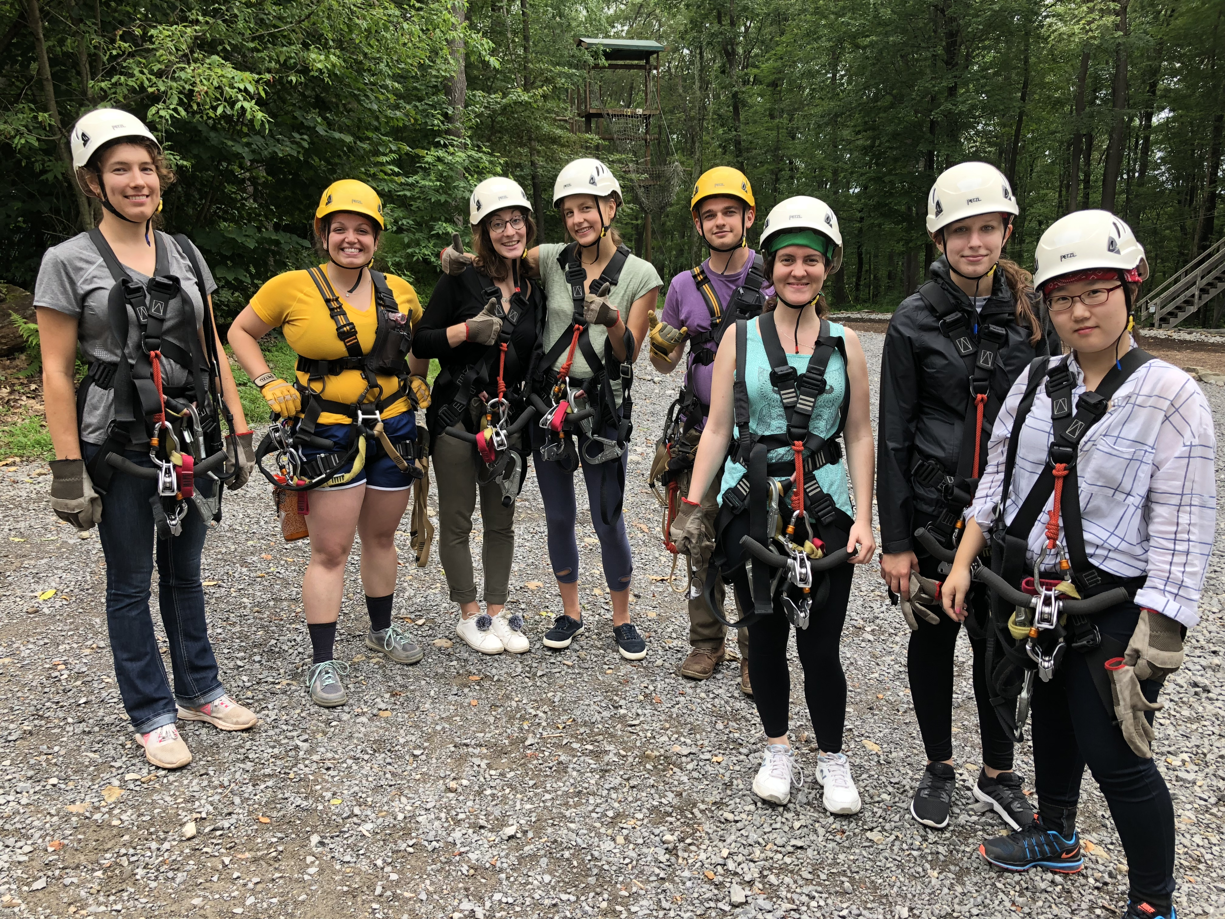Students gather following the zip line tour