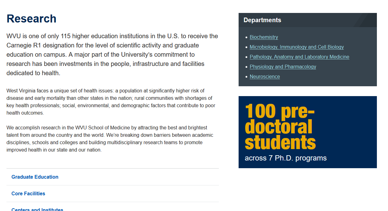 "The School of Medicine's Research page, complete with a ""Departments"" widget containing a list of links to five different research-related departments and a statistics widget with the text ""100 pre-doctoral students across 7 Ph.D. programs."""