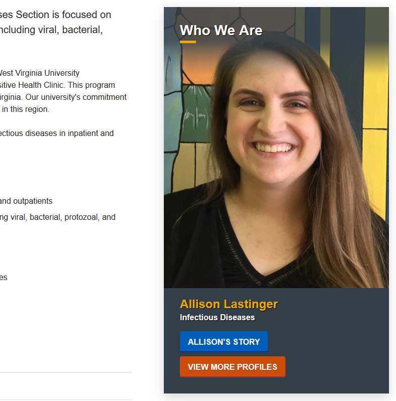 A profile widget of Alison Lastinger of the Infectious Diseases program. Alison's photo is overtop of her name, her area of study, and buttons to her story and more profiles.